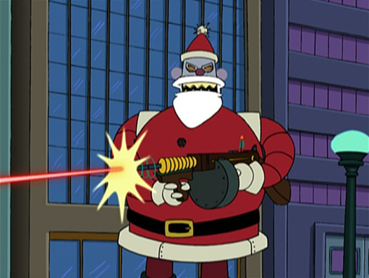 Santa Claus in gunning you down